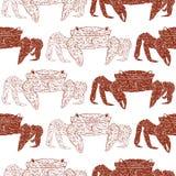 Άνευ ραφής σχέδιο με τα κόκκινα καβούρια απεικόνιση αποθεμάτων