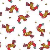 Άνευ ραφής σχέδιο με τα λαϊκά πουλιά απεικόνιση αποθεμάτων