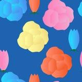 Άνευ ραφής σχέδιο με τα λεπτά λουλούδια marshmallow διανυσματική απεικόνιση