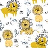 Άνευ ραφής σχέδιο με τα λιοντάρια, υπόβαθρο για το ύφασμα παιδιών, κλωστοϋφαντουργικό προϊόν, διακόσμηση βρεφικών σταθμών, τυλίγο διανυσματική απεικόνιση