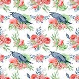 Άνευ ραφής σχέδιο με τα λουλούδια και τις κορώνες watercolor λουλακιού Άνθος Peonies Στοκ φωτογραφία με δικαίωμα ελεύθερης χρήσης