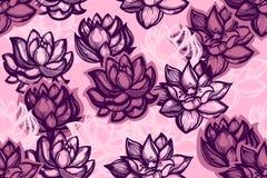 Άνευ ραφής σχέδιο με τα λουλούδια λωτού σε ένα ρόδινο υπόβαθρο Υπόβαθρο με τα λουλούδια νερού στο κινεζικό ύφος απεικόνιση αποθεμάτων