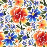 Άνευ ραφής σχέδιο με τα λουλούδια watercolor Στοκ φωτογραφία με δικαίωμα ελεύθερης χρήσης