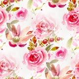 Άνευ ραφής σχέδιο με τα λουλούδια watercolor ελεύθερη απεικόνιση δικαιώματος