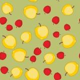 Άνευ ραφής σχέδιο με τα μήλα κινούμενων σχεδίων Φρούτα που επαναλαμβάνουν το υπόβαθρο Ατελείωτη σύσταση τυπωμένων υλών Ταπετσαρία Στοκ Εικόνα