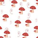 Άνευ ραφής σχέδιο με τα μανιτάρια και άνευ ραφής σχέδιο πικραλίδων με τα τοξικά amanita μανιτάρια Υπόβαθρο μύγα-αγαρικών απεικόνιση αποθεμάτων