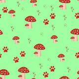 Άνευ ραφής σχέδιο με τα μανιτάρια και άνευ ραφής σχέδιο πικραλίδων με τα τοξικά amanita μανιτάρια Υπόβαθρο μύγα-αγαρικών ελεύθερη απεικόνιση δικαιώματος