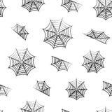 Άνευ ραφής σχέδιο με τα μαύρα spiderwebs για αποκριές r απεικόνιση αποθεμάτων