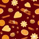 Άνευ ραφής σχέδιο με τα μπισκότα, τα καρυκεύματα και τα καρύδια Χριστουγέννων διανυσματική απεικόνιση