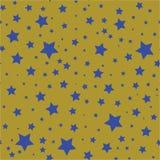 Άνευ ραφής σχέδιο με τα μπλε αστέρια σε ένα χρυσό υπόβαθρο ελιών διανυσματική απεικόνιση