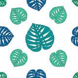 Άνευ ραφής σχέδιο με τα μπλε και πράσινα φύλλα φοινικών διανυσματική απεικόνιση