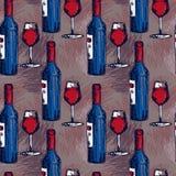 Άνευ ραφής σχέδιο με τα μπουκάλια κρασιού και τα γυαλιά κρασιού Στοκ Φωτογραφίες
