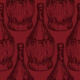 Άνευ ραφής σχέδιο με τα ντεμοντέ μπουκάλια κρασιού Στοκ Φωτογραφίες