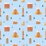 Άνευ ραφής σχέδιο με τα παλαιά κτήρια, πύργοι ρολογιών, κομψά δέντρα Σκηνικό με τα σπίτια πόλεων της ευρωπαϊκής αρχιτεκτονικής Διανυσματική απεικόνιση