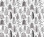 Άνευ ραφής σχέδιο με τα περίκομψα χριστουγεννιάτικα δέντρα Στοκ Εικόνα