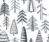 Άνευ ραφής σχέδιο με τα περίκομψα χριστουγεννιάτικα δέντρα Στοκ φωτογραφία με δικαίωμα ελεύθερης χρήσης