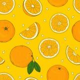 Άνευ ραφής σχέδιο με τα πορτοκάλια Σχεδιασμός με τα χέρια ελεύθερη απεικόνιση δικαιώματος