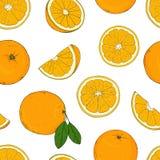 Άνευ ραφής σχέδιο με τα πορτοκάλια Σχεδιασμός με τα χέρια απεικόνιση αποθεμάτων