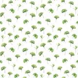 Άνευ ραφής σχέδιο με τα πράσινα φύλλα του biloba ginkgo στοκ εικόνες