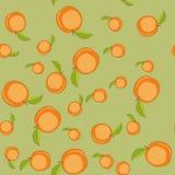 Άνευ ραφής σχέδιο με τα ροδάκινα κινούμενων σχεδίων Φρούτα που επαναλαμβάνουν το υπόβαθρο Ατελείωτη σύσταση τυπωμένων υλών Ταπετσ Στοκ φωτογραφίες με δικαίωμα ελεύθερης χρήσης
