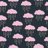 Άνευ ραφής σχέδιο με τα ρόδινα σύννεφα Στοκ Εικόνες
