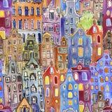 Άνευ ραφής σχέδιο με τα σπίτια του Άμστερνταμ watercolor διανυσματική απεικόνιση