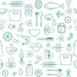 Άνευ ραφής σχέδιο με τα στοιχεία διατροφής και υγείας απεικόνιση αποθεμάτων