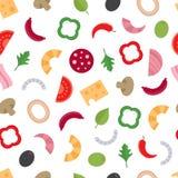 Άνευ ραφής σχέδιο με τα συστατικά για την πίτσα τρόφιμα μπουλεττών ανασκόπησης πολύ κρέας πολύ διανυσματική απεικόνιση