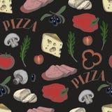 Άνευ ραφής σχέδιο με τα συστατικά για την πίτσα όπως οι ελιές, ντομάτα, μοτσαρέλα, τυρί, πιπέρι, που σύρεται σε ένα εκλεκτής ποιό απεικόνιση αποθεμάτων