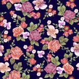 Άνευ ραφής σχέδιο με τα τριαντάφυλλα και τα διαφορετικά λουλούδια Στοκ εικόνες με δικαίωμα ελεύθερης χρήσης