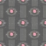 Άνευ ραφής σχέδιο με τα τριαντάφυλλα λουλουδιών στο γκρίζο υπόβαθρο Στοκ Εικόνες