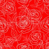 Άνευ ραφής σχέδιο με τα τριαντάφυλλα σε ένα κόκκινο ελεύθερη απεικόνιση δικαιώματος