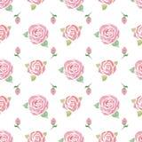 Άνευ ραφής σχέδιο με τα τριαντάφυλλα ελεύθερη απεικόνιση δικαιώματος