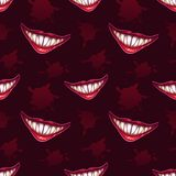 Άνευ ραφής σχέδιο με τα τρομακτικά χαμόγελα βαμπίρ Στοκ Εικόνες