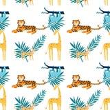 Άνευ ραφής σχέδιο με τα τροπικά ζώα χρωματισμού διανυσματική απεικόνιση για σας πρόγραμμα ελεύθερη απεικόνιση δικαιώματος