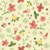 Άνευ ραφής σχέδιο με τα τροπικά λουλούδια watercolor στο κίτρινο υπόβαθρο Στοκ Φωτογραφία