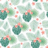 Άνευ ραφής σχέδιο με τα τροπικά φύλλα και τα λουλούδια απεικόνιση αποθεμάτων
