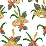 Άνευ ραφής σχέδιο με τα τροπικούς λουλούδια, τα μούρα, τα φύλλα και το χαμαιλέοντα Εξωτικό βοτανικό υπόβαθρο Στοκ Εικόνα