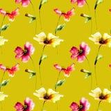 Άνευ ραφής σχέδιο με τα τυποποιημένα λουλούδια άνοιξη Στοκ Εικόνες