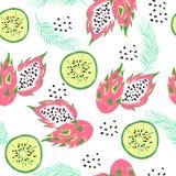 Άνευ ραφής σχέδιο με τα φρούτα ύφους doodle ελεύθερη απεικόνιση δικαιώματος