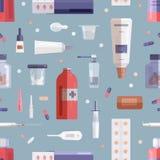 Άνευ ραφής σχέδιο με τα χάπια, τα φάρμακα, τα φάρμακα στα μπουκάλια, τα βάζα, τους σωλήνες, τη σύριγγα και άλλα ιατρικά εργαλεία  ελεύθερη απεικόνιση δικαιώματος