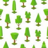 Άνευ ραφής σχέδιο με τα χαμηλά πολυ δέντρα των διάφορων τύπων στο άσπρο υπόβαθρο Σύγχρονο σκηνικό με τις δασικές εγκαταστάσεις is ελεύθερη απεικόνιση δικαιώματος