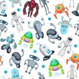Άνευ ραφής σχέδιο με τα χαριτωμένα αστεία ρομπότ Διανυσματικές εικόνες στο ύφος κινούμενων σχεδίων διανυσματική απεικόνιση
