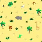 Άνευ ραφής σχέδιο με τα χαριτωμένα αφρικανικά ζώα και τα τροπικά φυτά ελεύθερη απεικόνιση δικαιώματος