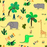 Άνευ ραφής σχέδιο με τα χαριτωμένα αφρικανικά ζώα και τα τροπικά φυτά διανυσματική απεικόνιση