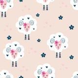 Άνευ ραφής σχέδιο με τα χαριτωμένα πρόβατα και τα λουλούδια Στοκ Φωτογραφίες