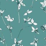Άνευ ραφής σχέδιο με τα χορτάρια και τα λουλούδια σχεδίων Στοκ φωτογραφία με δικαίωμα ελεύθερης χρήσης