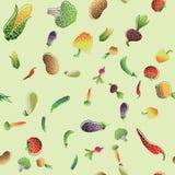 Άνευ ραφής σχέδιο με τα χρωματισμένα λαχανικά φυσικό διανυσματικό ύδωρ απεικόνισης σχεδίου φρέσκο σας απεικόνιση αποθεμάτων