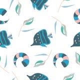 Άνευ ραφής σχέδιο με τα ψάρια και κοχύλι στο άσπρο υπόβαθρο ως ύφασμα, κλωστοϋφαντουργικό προϊόν, ενδύματα επίσης corel σύρετε το διανυσματική απεικόνιση