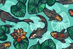 Άνευ ραφής σχέδιο με τα ψάρια, τα λουλούδια και τα φύλλα κυπρίνων koi του λωτού Λίμνη Υπόβαθρο στο κινεζικό ύφος συρμένο χέρι απεικόνιση αποθεμάτων
